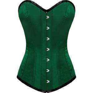 Green Satin Gothic Bustier Waist Training LONG Overbust Corset Costume
