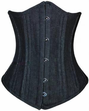 Black Denim Double Bone Gothic Bustier Waist Cincher Body Shaper Underbust Corset Costume