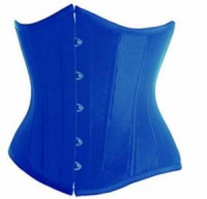 Blue Satin Gothic Bustier Waist Cincher Underbust Corset Costume