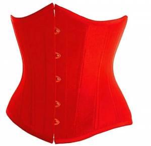 Red Satin Gothic Waist Cincher Steampunk Underbust Corset Costume