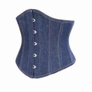 Blue Denim Steampunk Bustier Waist Training Underbust Corset Costume