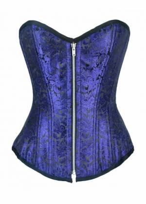 Blue Brocade Double Bone Gothic Bustier Waist Training Overbust Corset Costume