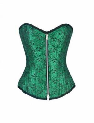 Green Brocade Zipper Double Bone Gothic Burlesque Bustier Waist Training Overbust Corset Costume