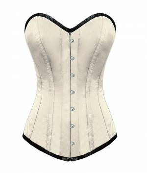 White Satin Gothic Bustier Waist Training Halloween LONG Overbust Corset Costume