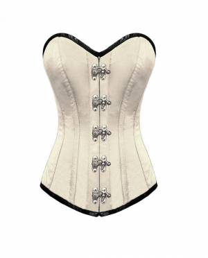 Women's White Satin Seal Lock Gothic Bustier Waist Training LONG Overbust Corset Costume