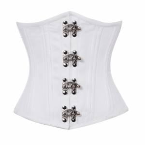 White Satin Seal Lock Double Bone Gothic Steampunk Bustier Waist Training Underbust Corset Costume