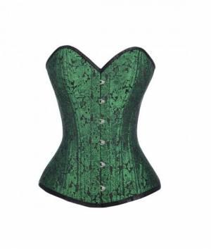 Green Brocade Busk Opening Double Bone Gothic Bustier Waist Training Overbust Corset Costume