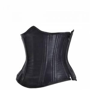 Black Satin Side Zipper Double Bone Gothic Bustier Waist Cincher Shapewear Underbust Corset Costume