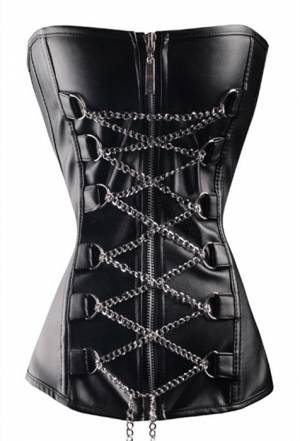Black Leather Laced Chain Buckles Gothic Bustier Waist Training Burlesque Vintage Overbust Corset Costume