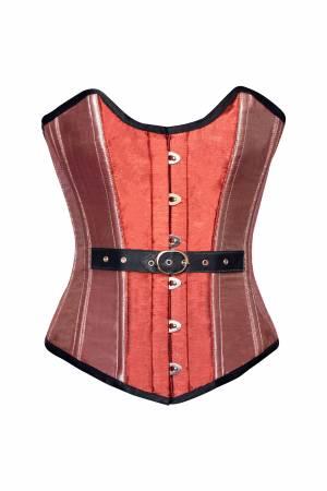 Orange Pink Silk Gothic Bustier Waist Training Overbust Corset Costume