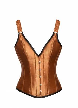 Apricot Silk Shoulder Strap Bustier Waist Training Overbust Corset Costume