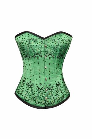 Green Satin Black Handmade Sequined Gothic Bustier Waist Training Overbust Corset Costume