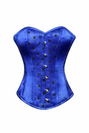 Blue Satin Stars Print Gothic Waist Training Bustier Steampunk Overbust Corset Costume