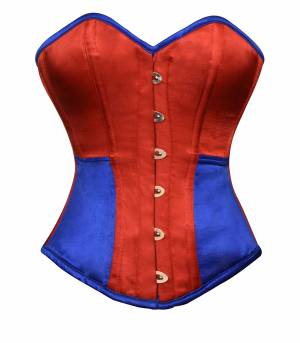 Women's Corsets Red Blue Satin Gothic Waist Training Bustier Overbust Costume