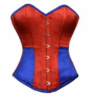 Red Blue Satin Gothic Waist Training Bustier Halloween Overbust Corset Costume
