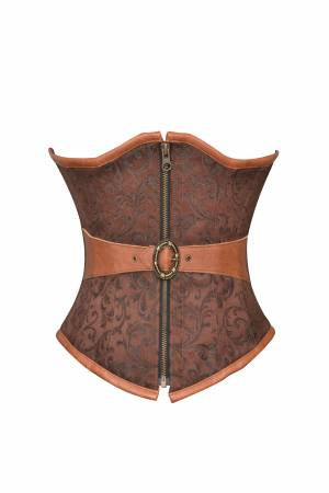 Women's Brown Brocade & Leather Belt Gothic Waist Cincher Underbust Corset