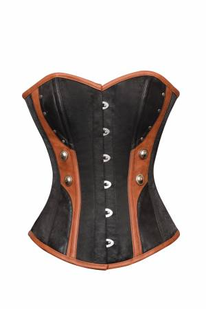 Women's Black Satin Brown Leather Gothic Bustier Waist Training Overbust Corset Costume
