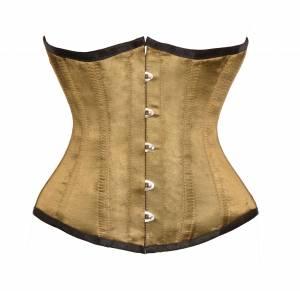 Alpine Yellow Satin Gothic Bustier Waist Cincher Steel Bone Underbust Corset Costume