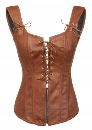 Brown Faux Leather Zipper N Lacing Gothic Waist Training Lingerie Overbust Corset Costume