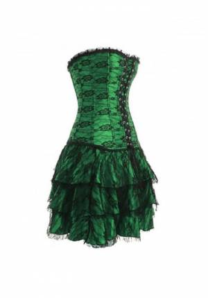 Women's Green Satin with Skirt Gothic Bustier Waist Training Costume Overbust Corset Dress