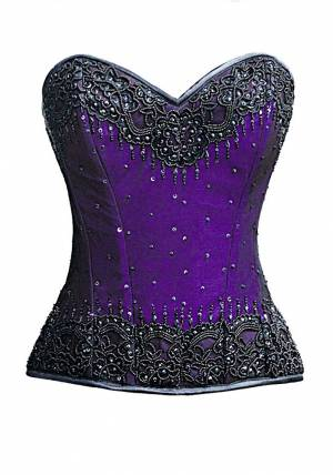 Purple Satin Handmade Sequined Gothic Bustier Waist Training Overbust Steel Boned Corset Costume