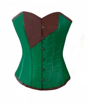 Green and Brown Faux Leather Gothic Waist Cincher Bustier Overbust Corset Top