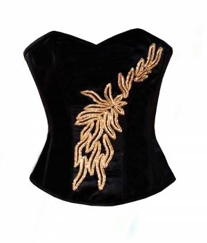 Black Satin Golden Handmade Sequined Gothic Overbust Corset Top