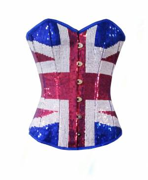 Blue Satin Red & White Handmade Sequined Bustier Waist Training Overbust Corset Costume